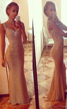 Sexy Open Back Long Prom Dresses V Neck Chiffon Sequins Party Gowns, Evening Dress
