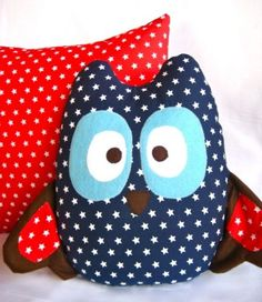 red and navy owl cushion