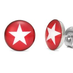 Outstanding White Star Stainless Steel Stud Earrings for Men | RnBJewellery