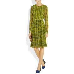 Erdem Alba belted printed silk-chiffon dress ($1,760) via Polyvore