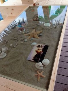Personalized the tiki bar counter by adding a glass top with sand, shells and photos in it. Imagine this with hermit crabs in it. Backyard Beach, Tiki Hut, Tiki Tiki, Beach Room, Tiki Room, Garden Bar, Bar Furniture, Modern Furniture, Furniture Design