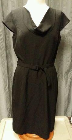 Calvin Klein Designer Cap Sleeve Belt Cowl Neck Little Black Dress Lined Size 8 Calvinklein