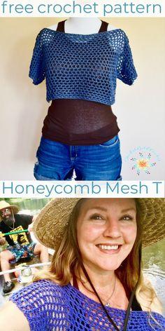 Crochet Top Honeycomb Mesh Cropped T – Easy FREE Crochet Pattern – Stardust Gold Crochet Beau Crochet, Crochet Mignon, Moda Crochet, Cute Crochet, Beautiful Crochet, Crochet Baby, Chevron Crochet, Crochet Teddy, Crochet Crafts
