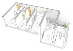 This diagram is a modular housing unit in Sejima Wing. It explains the circulation/program/public private relationship of the design successfully. Gifu, Japanese Architecture, Architecture Drawings, Ryue Nishizawa, Modular Housing, 3d Modelle, Social Housing, Sketch Design, Urban Design