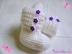 Minhas linhas e eu: Receita de botinha em crochet para bebê
