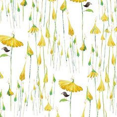 Clothworks Friends in Wild Places by Masha D'yans Umbrella Blooms Yellow