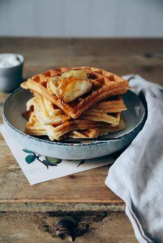 Dicke Waffeln mit gebackenen Zimt Äpfeln Rezept - waffles with baked cinnamon apples recipe