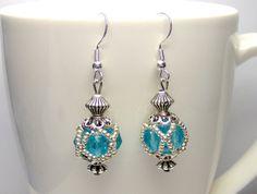 Blue beaded bead earrings victorian earrings by BuzzybeeBeading.