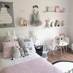 chambre petite fille rose et gris