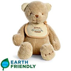 Green parents will love this eco-friendly teddy bear, made from certified organic cotton and dyed with natural ingedients in water. $25 #greengifts #earthday