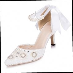 43.45$  Buy here - http://ali1ff.worldwells.pw/go.php?t=32625598335 - Two Style White Lace Pearls Women Wedding Shoes ON Promotion Sexy Lace UP Ladies Party Shoes Pointed Toes  JM1535 43.45$