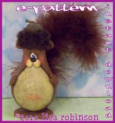 INSTANTLY Download pdf painting epattern squirrel recycled Light Bulb gourd ACORN fall ofg prim chick pattern 712