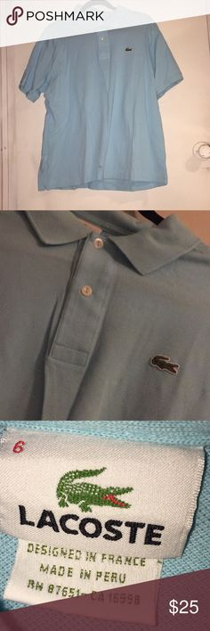 Lactose polo shirt Lacoste polo shirt in good condition has wrinkles but can be ironed overall the shirt is in good condition has no flaws/stains -Will ship in one business day or the same day purchased  -Will ship via usps priority mail Lacoste Shirts