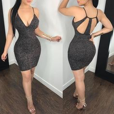 Low Cut Caged Back Glittering Bodycon Dress