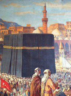 Kaaba, Mecca in the Ottoman Period (Osmanlı Dönemi Mekke, Kabe) Islamic Images, Islamic Pictures, Art Arabe, Muslim Culture, Arabian Art, Islamic Paintings, Mekka, Arabic Calligraphy Art, Islamic World