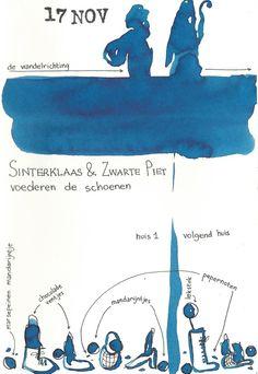 17 november. Sinterklaas en Zwarte Piet voederen de schoenen. (door Eva Vaes)