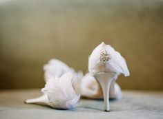 Wedding Shoes: Elegant feather and crystal heels