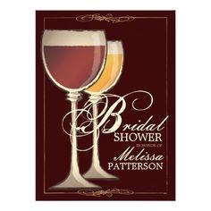 "Elegant Wine Themed #BridalShower #Invitation 5.5"" X 7.5"" Invitation Card"