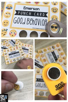 "Punch card & sticker chart in one! Print EDITABLE Emoji Punch cards onto full page / sticker paper for instant gratification & long term goal setting. Keep the sticker-back on the card then when students earn a ""punch"" use a circle punch to pop off an Emoji then peel the back off & it's a sticker!"