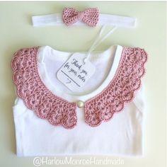Crochet collar baby body suit vintage lace style vest custom
