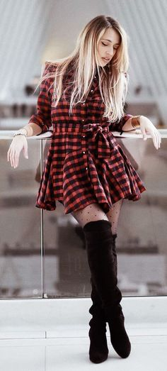 #spring #fashion  Red & Black Checked Dress & Black OTK Boots
