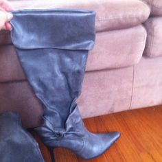 Reduced!!! Sexy gray tall boots. Can be worn with top folded down or up. Pointed toe, inside sip half way. Worn only one time!! Rampage brand clarissa style. Says size 8 but I'm a 7.5 and they fit great. Rampage Shoes