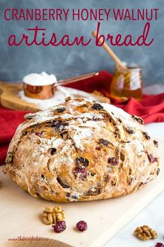 This No-Knead Cranberry Honey Walnut Artisan Bread Is A Delicious Sweet Bakery-Style Bread That's Perfect For The Holidays Make It Perfect With My Easy Pro Tips For Homemade Bakery-Style Bread Recipe From Thebusybaker. Artisan Bread Recipes, Dutch Oven Recipes, Baking Recipes, Easy Recipes, Yeast Bread Recipes, Recipes Dinner, Dutch Oven Desserts, Cornbread Recipes, Jiffy Cornbread