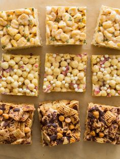 Creative takes on typical rice krispies treats. We use different ingredients with the same proportions for awesome outcomes! Creative takes on typical rice krispies treats. We use different ingredients with the same proportions for awesome outcomes! Cereal Treats, Cereal Bars, No Bake Treats, Kashi Cereal, Trix Cereal, Baby Cereal, Marshmellow Treats, Marshmallow Cereal, Rice Crispy Treats