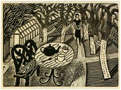 'Tea in the Garden (1936)' by Eric Ravilious (