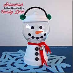 Clay Pot Snowman Candy Dish from thatswhatchesaid.net!  Great kids craft or group project!