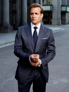 Suits - Gabriel Macht as Harvey Specter. Pretty much anything he wears in the show is appropriate for work! Trajes Harvey Specter, Harvey Specter Suits, Suits Harvey, Gabriel Macht, Mens Fashion Suits, Mens Suits, Suit Men, Suits Usa, Suits Serie