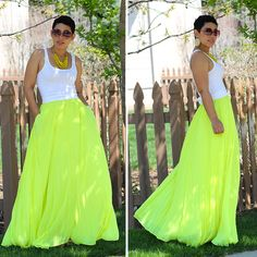 Neon Pleated Chiffon Skirt - Mimi G Style