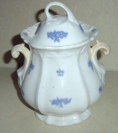 Chelsea Ware Lavender Blue Grape Relief Sugar Bowl &Lid
