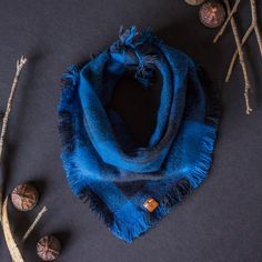 SIERRA. Dog bandana or baby scarf with hand dyed real leather label in black and blue plaid flannel, blue stitching, handmade fringe trim.