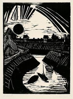 """ernstludwigkirchner: """"expressionismus: Die Brücke Erich Heckel Krummer Kanal (1915) """""""