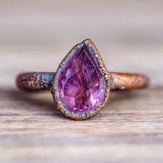 Amethyst Tear Drop and Copper Ring | Bohemian Gypsy Jewels | Indie and Harper – www.indieandharpe...
