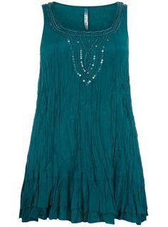 evans blue crinkle longline top - plus size