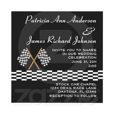 Checkered Flag Racing Wedding Invitation from Zazzle.com