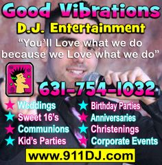 Good Vibrations DJ Entertainment-DJs in East Northport NY East Northport, Dj Photos, Best Vibrators, Long Island, Corporate Events, Entertainment, Photo And Video, Party, Kids