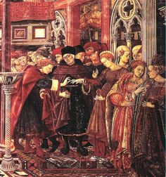 Domenico di Bartolo, detail from The Marriage of a Foundling, Fresco, Hospital of Santa Maria della Scala, Siena. A nice example of Oriental carpets in Renaissance painting Die Renaissance, Renaissance Kunst, Renaissance Paintings, Italian Renaissance, Renaissance Clothing, Animal Rug, Dragon Pattern, European Paintings, Modern History