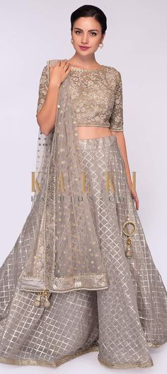 Buy Online from the link below. We ship worldwide (Free Shipping over US$100)  Click Anywhere to Tag Tortilla-brown-organza-lehenga-in-checks-paired-with-net-blouse-in-floral-resham-embroidery-only-on-Kalki Long Frocks For Kids, Kids Frocks, Dress Indian Style, Indian Dresses, Indian Wear, Saree Blouse Patterns, Saree Blouse Designs, Indian Wedding Outfits, Indian Outfits