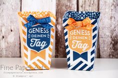 Stampin up - Popcorn Box, In Color 2016-2018, Stempelset Gut gewappnet, Badges & Banners Stamp Set, Best Badge Punch, Stanze Wappen, Thinlits Popcorn-Schachtel, Popcorn Box Thinlits - Fine Paper Arts