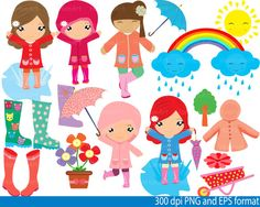 Girl - Rain Art - PNG,EPS-Digital Clip Art Graphics, Personal, Commercial Use (36 png format)-088-