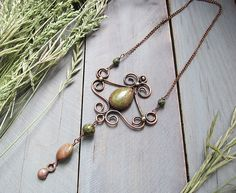 Copper Brass Green Natural Stones Necklace, Rustic Boho Mixed Metal Statement Necklace, Elegant Metalwork Artisan Necklace, Wedding Gift by MaryBulanova on Etsy