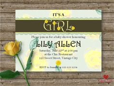 Baby Shower Card Fully Editable Baby Shower by LoveArtSyou on Etsy Baby Shower Cards, Baby Shower Invitations, Lily Allen, Shower Inspiration, Rsvp, Kid, Digital, Awesome, Handmade Gifts