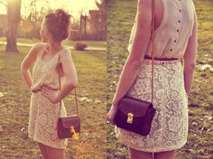 lace skirt with buttoned shirt