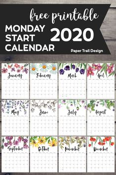 Free Printable 2020 Monday Start Calendar {Floral} – Paper Trail Design – Come Back to School Printable Calendar 2020, 2021 Calendar, Diy Calendar, School Calendar, Print Calendar, Calendar Pages, Calendar Design, Planner Pages, Printable Planner