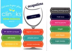 Clingks 12 Drink Markers- Occupations