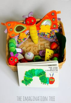 The Very Hungry Caterpillar Storytelling Basket - The Imagination Tree The Very Hungry Caterpillar Activities, Hungry Caterpillar Party, Childcare Activities, Infant Activities, Toddler Play, Baby Play, Story Sack, Book Baskets, Book Bins