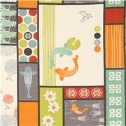 Tissu bio Birch, patchwork, poissons Koi, fleurs et origamis